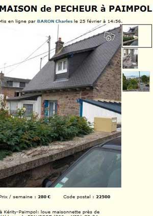 Partir en vacances en Bretagne pourquoi pas une maison de pêcheur à Paimpol