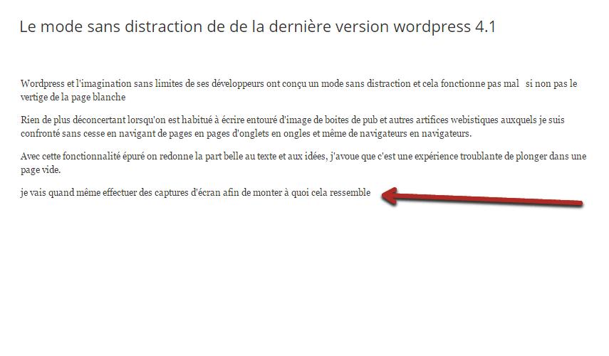 Le mode sans distraction de de la dernière version wordpress 4.1